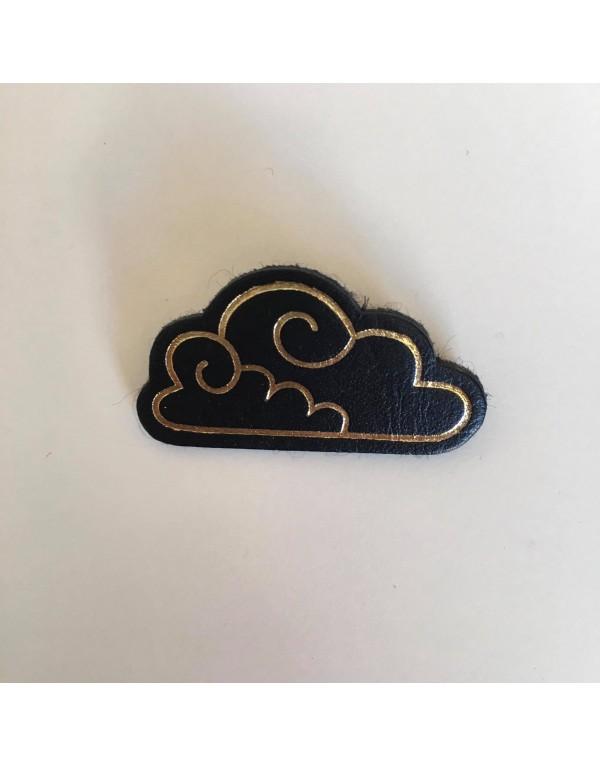 Broche nuage noir / cuir...