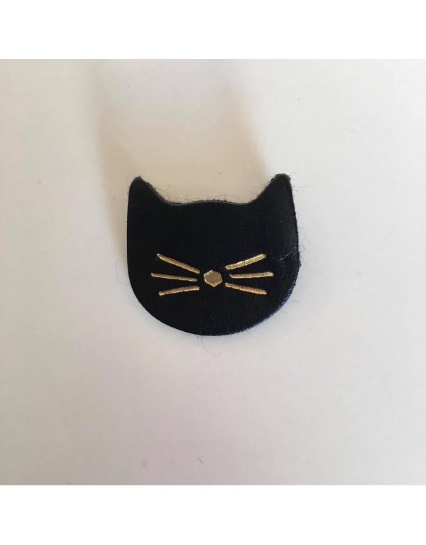 Broche chat noir/cuir upcyclé